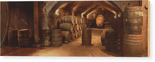 Wine Barrels In A Cellar, Buena Vista Wood Print