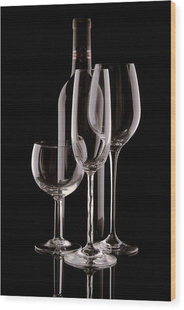 Wine Bottle And Wineglasses Silhouette Wood Print