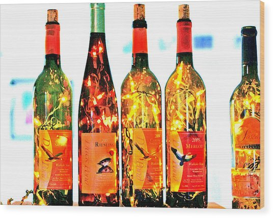 Wine Bottle Lights Wood Print