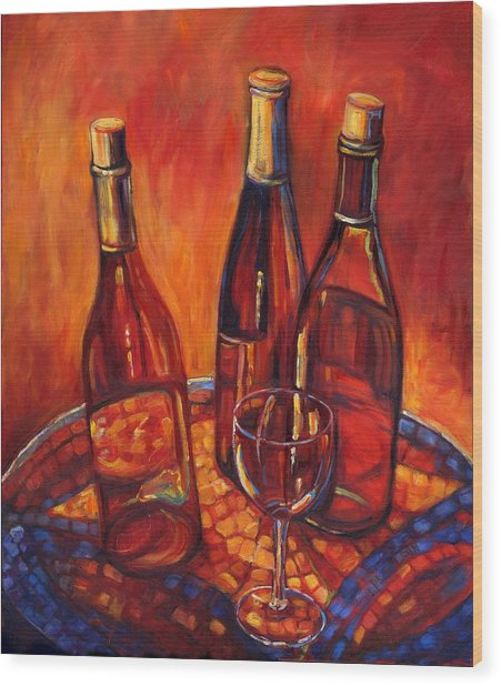 Wine Bottle Mosaic Wood Print by Peggy Wilson