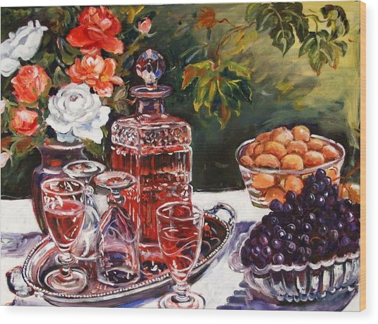 Wine Decanter Still Life Wood Print