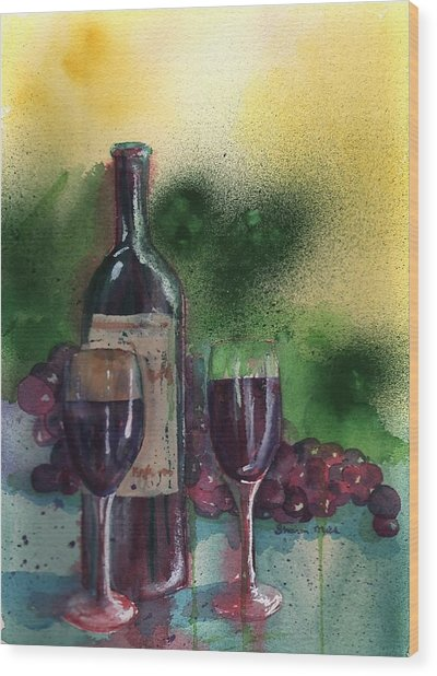 Wine For Two Wood Print