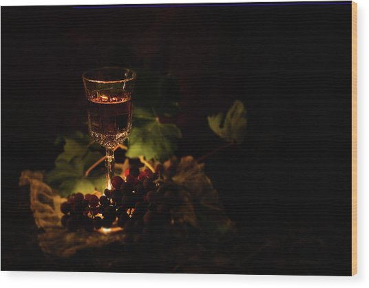 Wine Glass And Grapes Wood Print