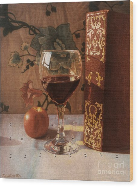 Wine Glass And Red Book Wood Print by Daniel Montoya