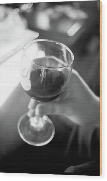 Wine In Hand Wood Print
