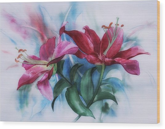 Wine Lillies In Pastel Watercolour Wood Print