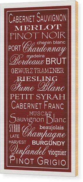 Wine List Red Wood Print by Rebecca Gouin