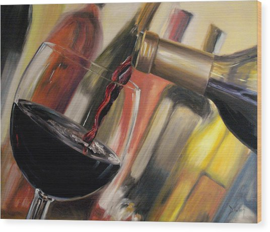 Wine Pour II Wood Print