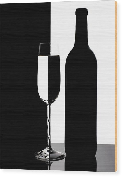 Wine Silhouette Wood Print