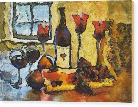 Wine Table Wood Print