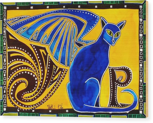 Winged Feline - Cat Art With Letter P By Dora Hathazi Mendes Wood Print