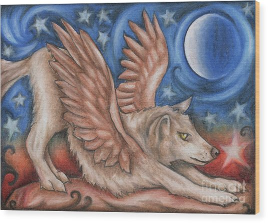 Winged Wolf In Downward Dog Yoga Pose Wood Print
