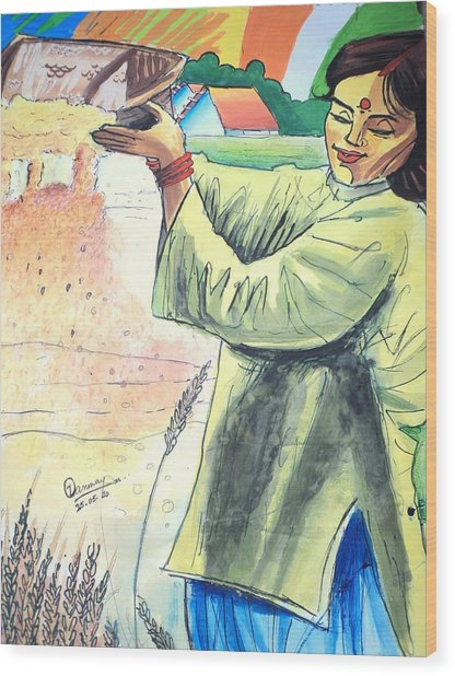 Winnowing With Smile Wood Print by Tanmay Singh