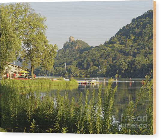 Wood Print featuring the photograph Winona Mn Photo Summer Evening With Sugarloaf by Kari Yearous