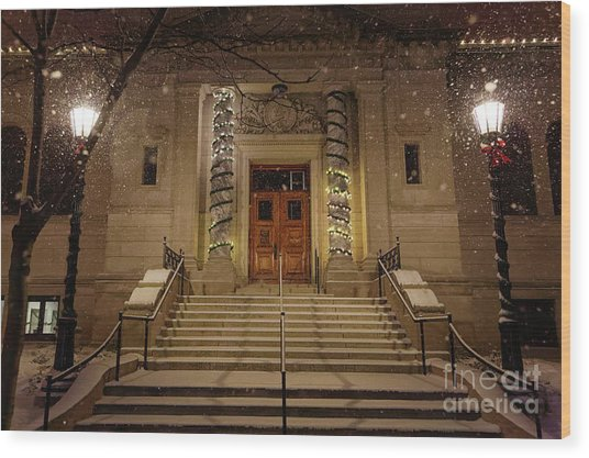 Wood Print featuring the photograph Winona Public Library On A Snowy Night by Kari Yearous