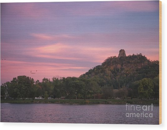 Wood Print featuring the photograph Winona Sugarloaf Pink Skies With Geese by Kari Yearous