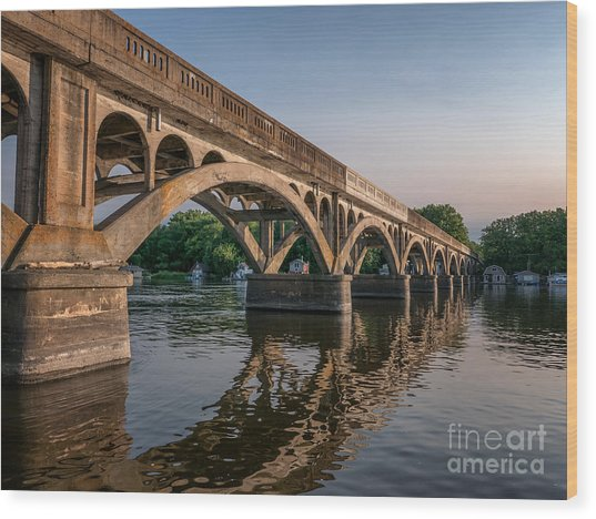 Wood Print featuring the photograph Winona Wagon Bridge With Boathouses by Kari Yearous