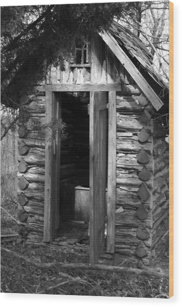 Winslow Log Outhouse Wood Print by Curtis J Neeley Jr