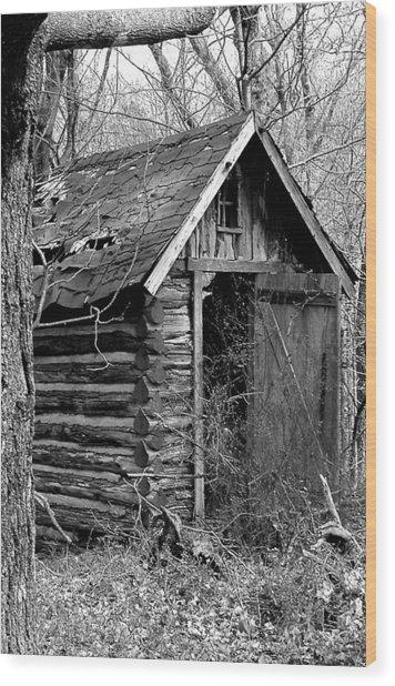 Winslowlogouthouse-11x17 Wood Print