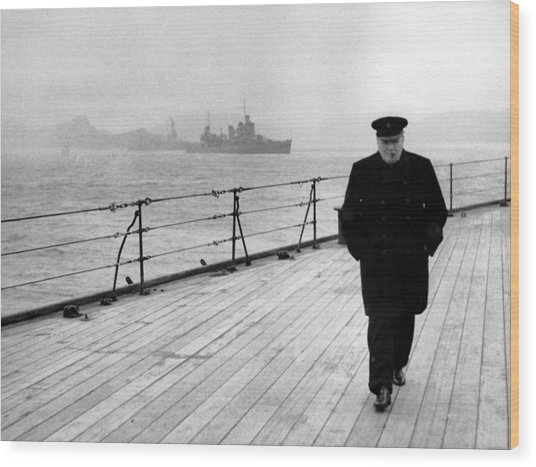Winston Churchill At Sea Wood Print