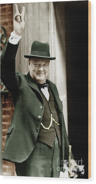 Winston Churchill, English Prime Minister, Making The Victory Gesture In Front Of 10 Downing Street  Wood Print