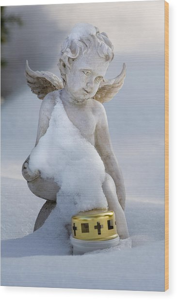 Winter Angel Wood Print