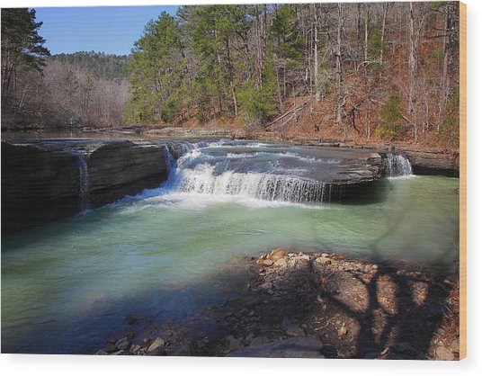 Winter At Haw Creek Falls Wood Print