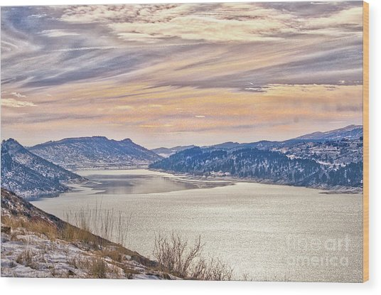 Winter At Horsetooth Reservior Wood Print