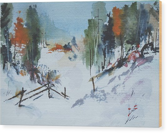 Winter At Marble Farm Wood Print by Wilfred McOstrich