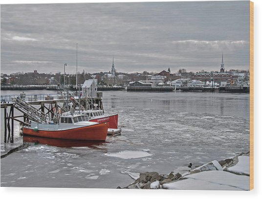 Winter At Newburyport Harbor Wood Print