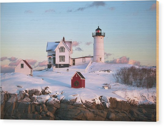 Winter At Nubble Wood Print