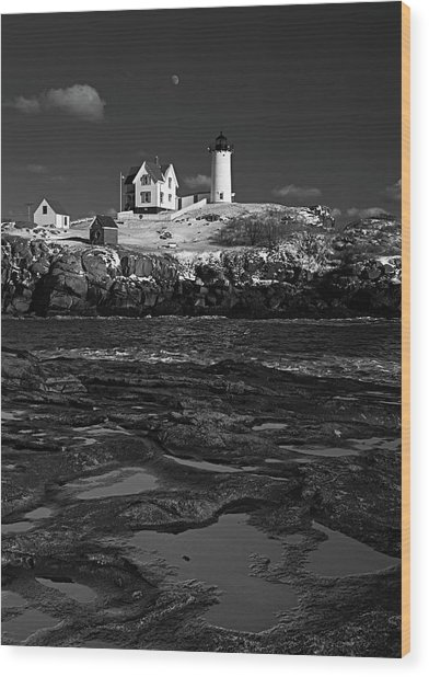 Winter At Nubble Lighthouse Bw Wood Print