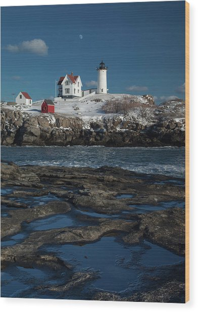 Winter At Nubble Lighthouse Wood Print