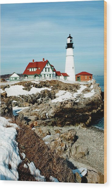 Winter At Portland Head Wood Print