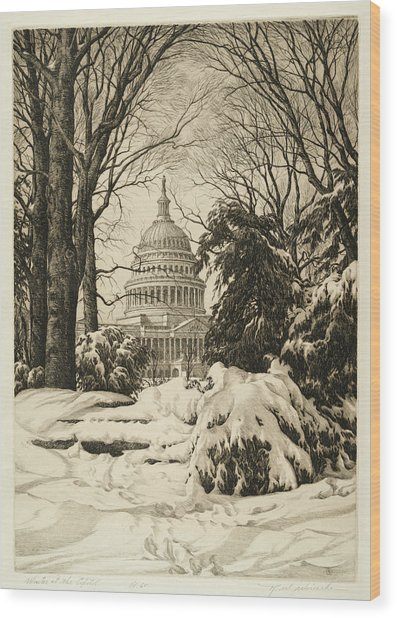 Winter At The Capitol Wood Print
