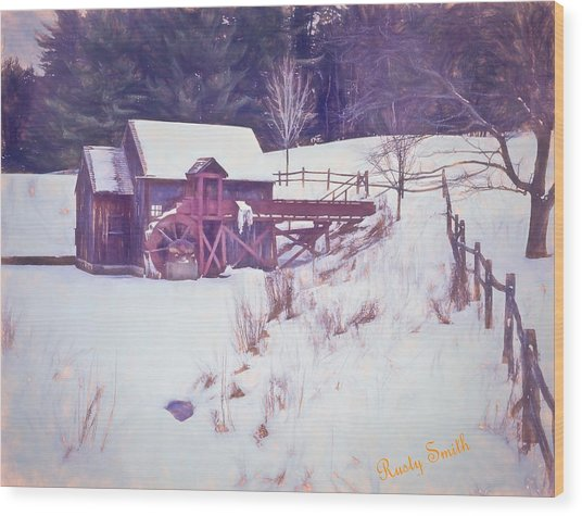 Winter At The Gristmill. Wood Print