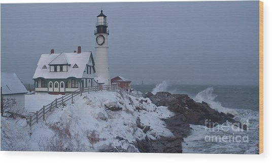 Winter At The Lighthouse Wood Print