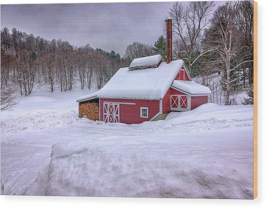 Winter At The Maple Sugar Shack Wood Print