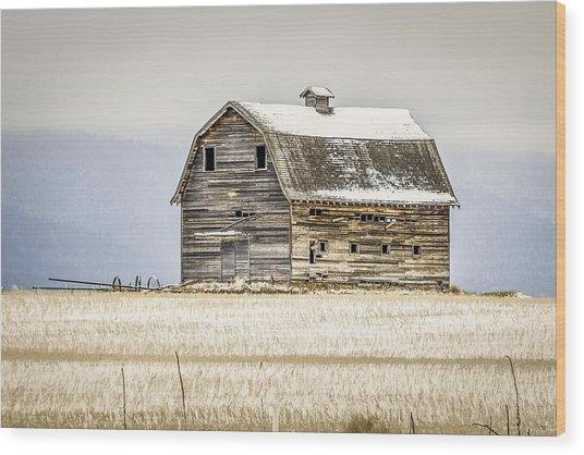 Winter Barn Wood Print by Bryan Moore