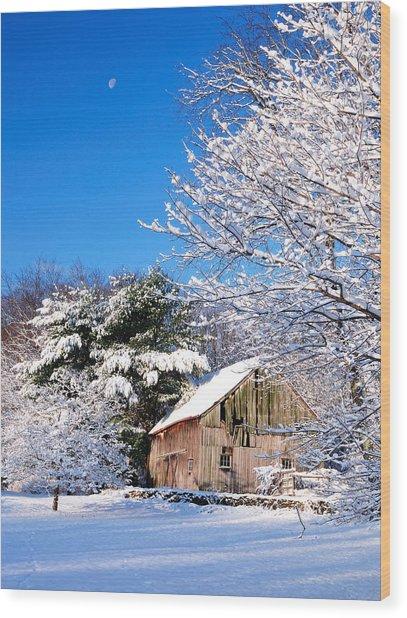 Winter Barn Scene-warren Ct Wood Print