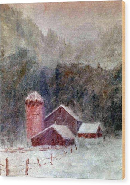 Winter Barns Wood Print