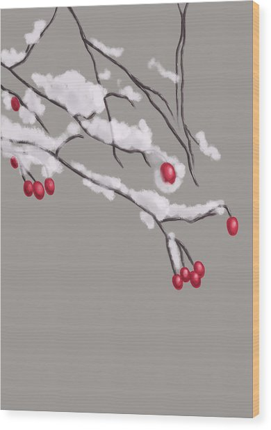 Winter Berries And Branches Covered In Snow Wood Print
