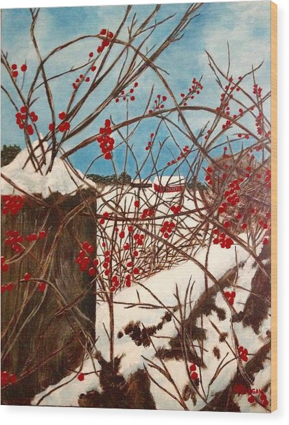 Winter Berries Wood Print