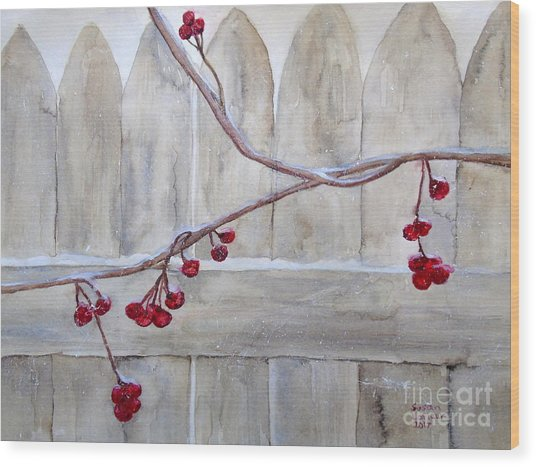Winter Berries Watercolor Wood Print