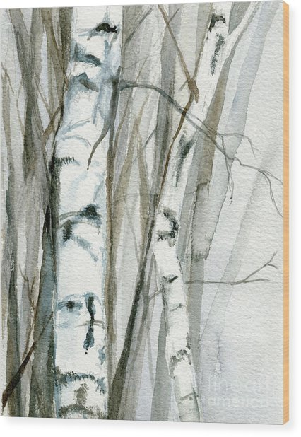 Winter Birch Wood Print