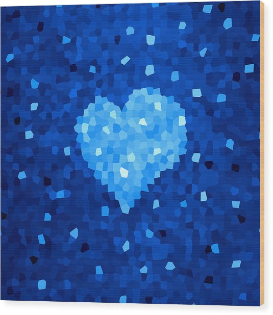 Winter Blue Crystal Heart Wood Print
