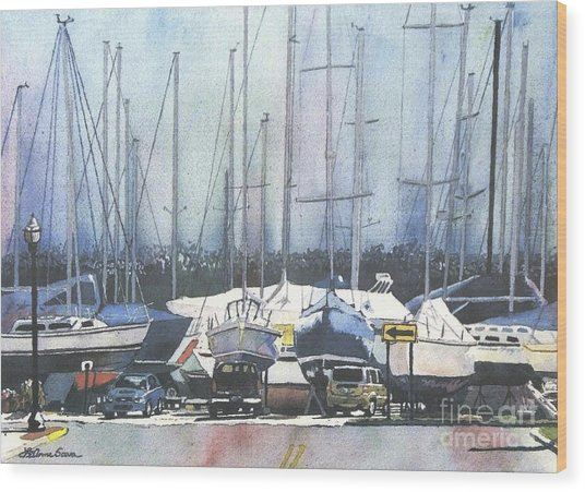 Winter Blues, Sal Boats, Boating Paintings, Boat Paintings, Boat Prints Wood Print