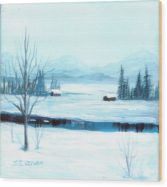 Winter Blues Wood Print by SueEllen Cowan