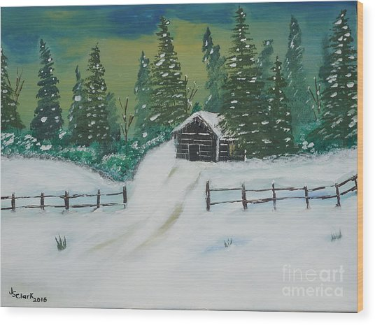 Winter Cabin Wood Print