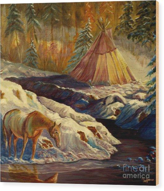 Winter Camping Wood Print
